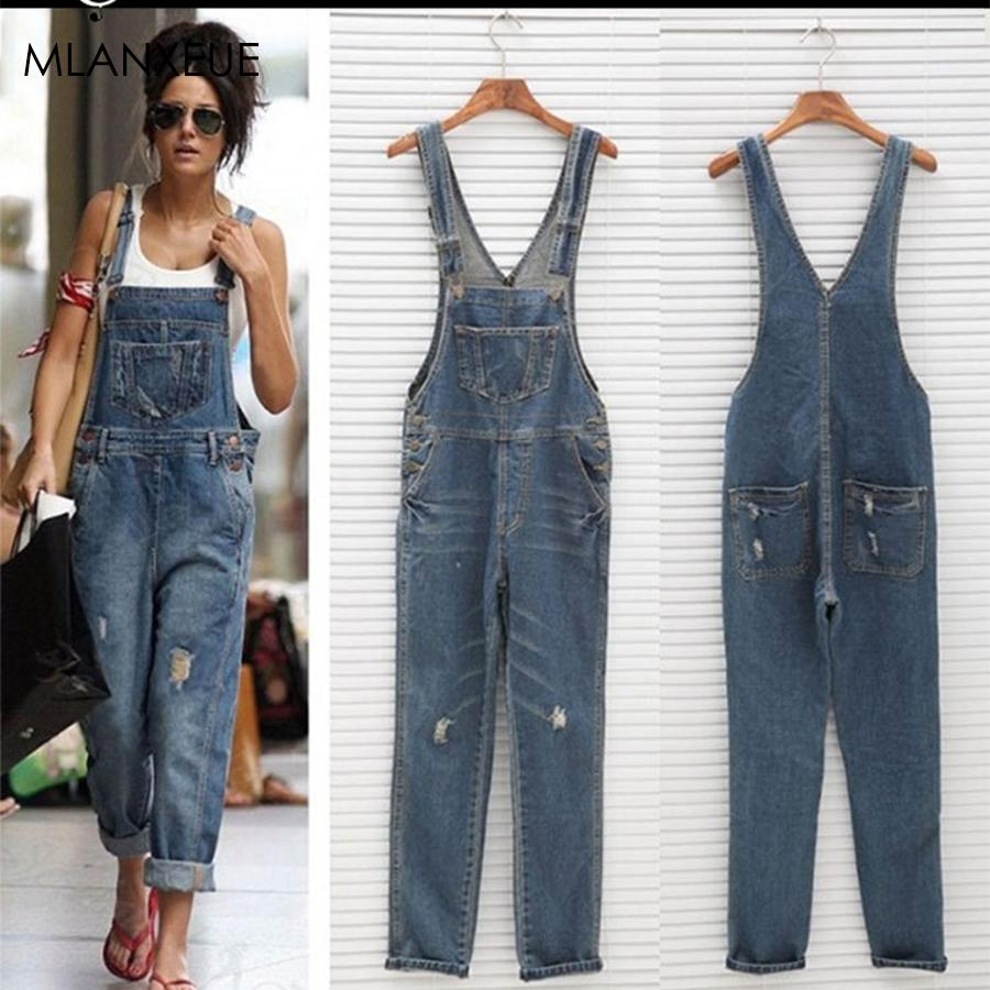 Solid Loose Overalls Jeans Women Casual Pockets Button Hole Simple Jeans Female Classic Plus Size Wild Overalls For Lady Summer