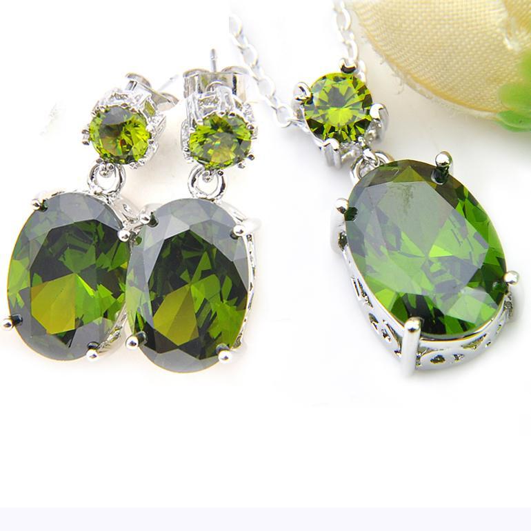 I monili ciondola orecchini pendenti di LuckyShine festa gioielli regalo handmade puro Peridot della pietra preziosa ovale zircone della donna