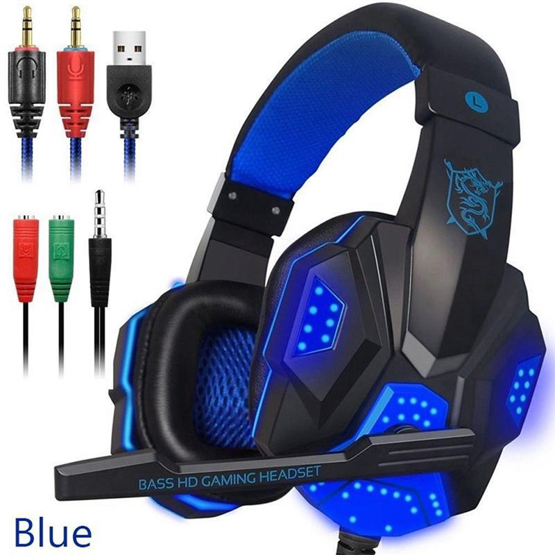 Gaming Headsets Big Headphones com Luz Mic Stereo Earphones Deep Bass para PC Computer Gamer Laptop PS4 PC780