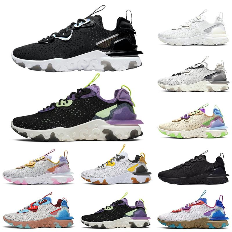 Siyah Yanardöner Erkekler Kadınlar Spor Sneakers Boyut 5,5-11 Toptan Ayakkabı Koşu Vizyon Eleman 87 55 Erkek Koşu Tepki