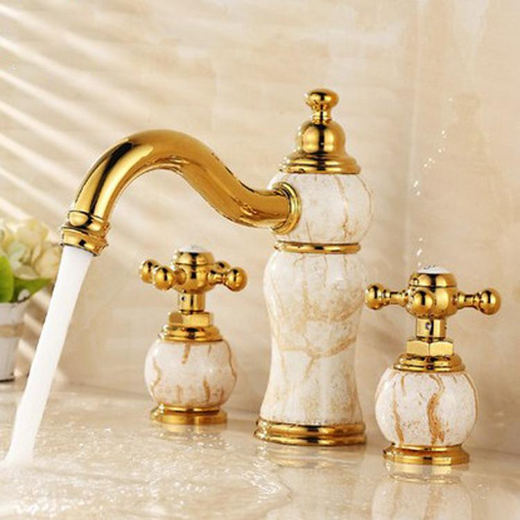 New arrival high quality finished gold bathroom sink faucet brass natural Jade basin faucet,tap mixer 3 holes