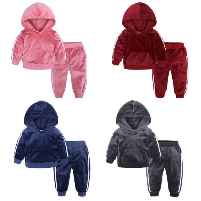 Crianças roupas Rapazes Raparigas ouro Velvet Suit Primavera Outono Além disso Bebé Criança camisola morna Calças dois conjuntos 0-7Years