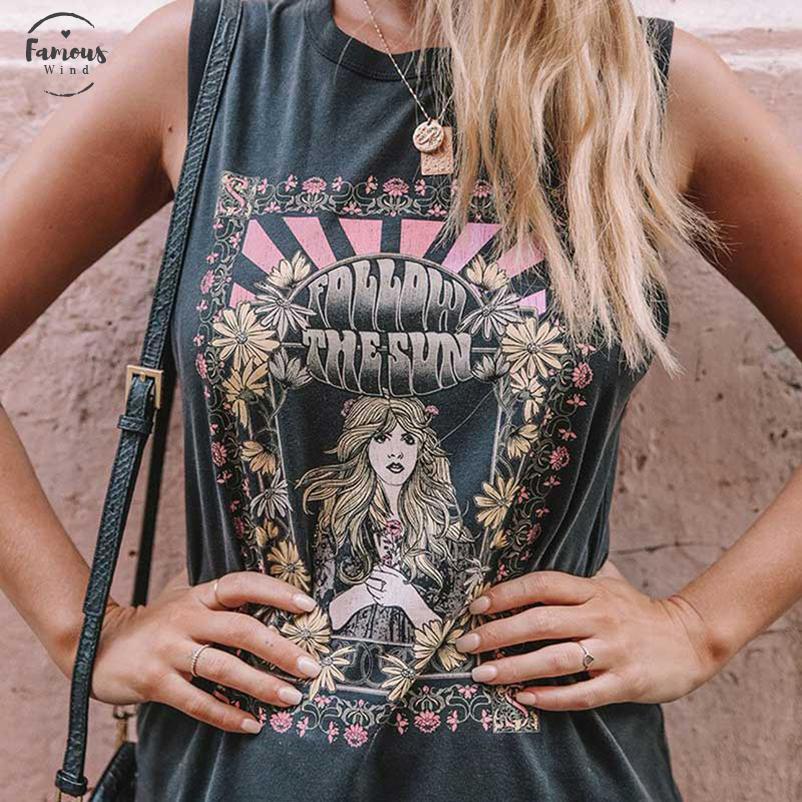 Follow The Sun Tee Siyah Boho Tişörtlü Ç Boyun İlkbahar Yaz Yeni Kadınlar Kısa Kollu Şık Kadın T Shirts yazdır