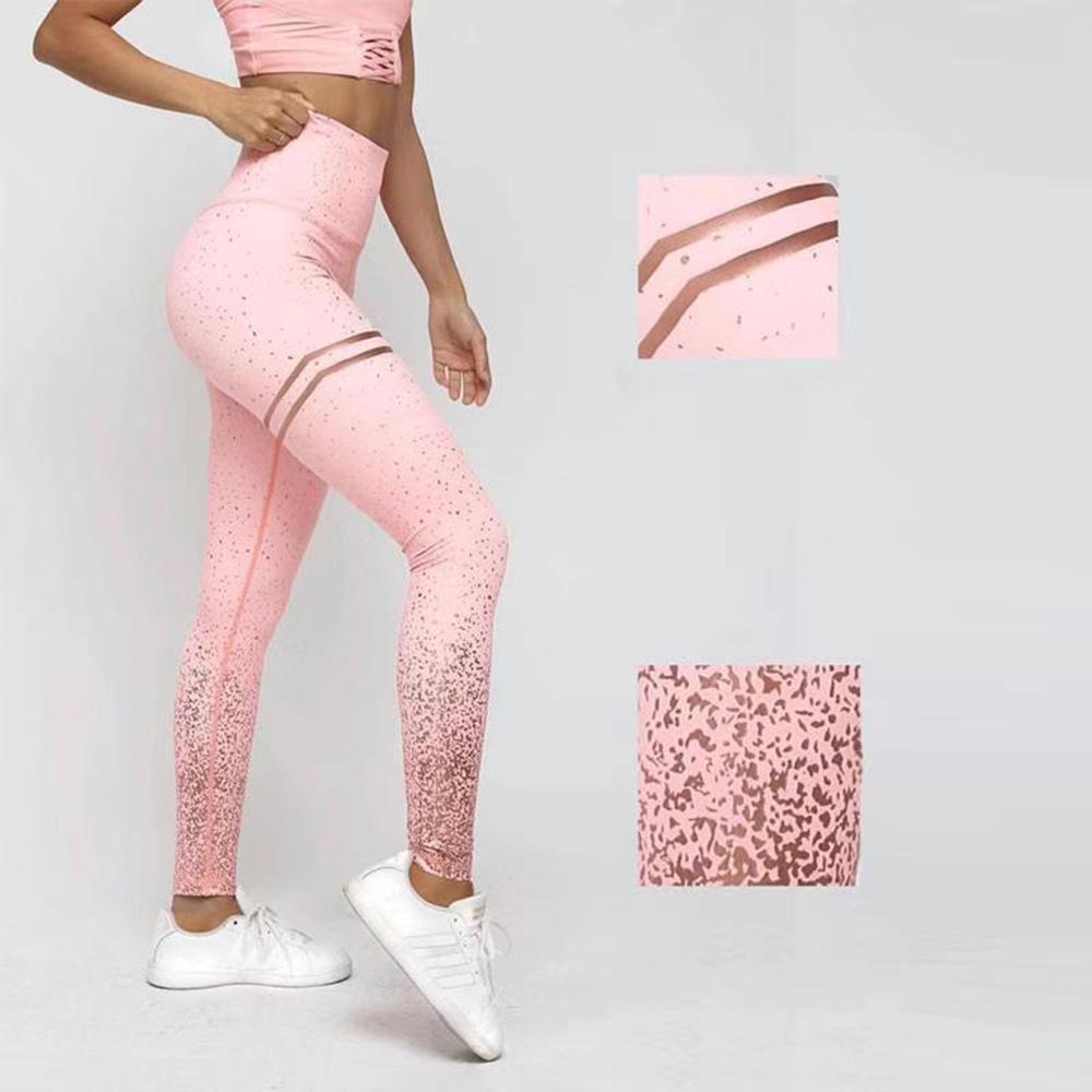 2019 nouveau yoga estampage à chaud running sport taille haute pantalon de jogging taille haute stretch fitness hanches leggings minces femmes