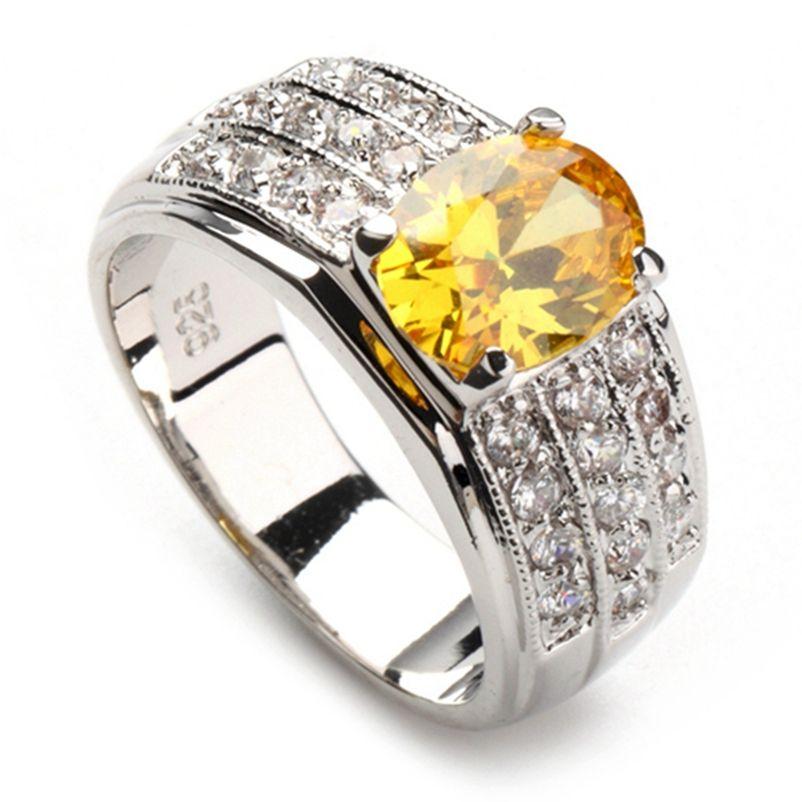 SHUNXUNZE Big Yellow ovale Zircon femmes Bijoux Bagues de fiançailles rhodié Bijoux pour les femmes Accessoires Anel Aneis R378