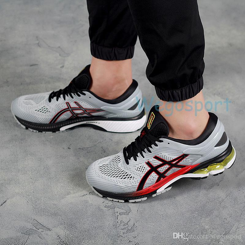 2020 2019 New Asics Gel Gel Kayano 26 Running Shoes For Men Shoes Stripe Black Yellow Breathable Designer Sneakers K26 Sports Shoes 36 45 From