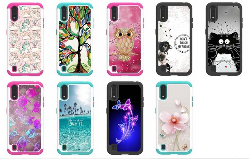 Shockproof Case For Samsung A71 A51 A01 S10 5G S10e S10 S9 Hard PC+TPU Defender Totoro Owl Cat Flower Butterfly Hybrid Armor Ocean Sea Cover