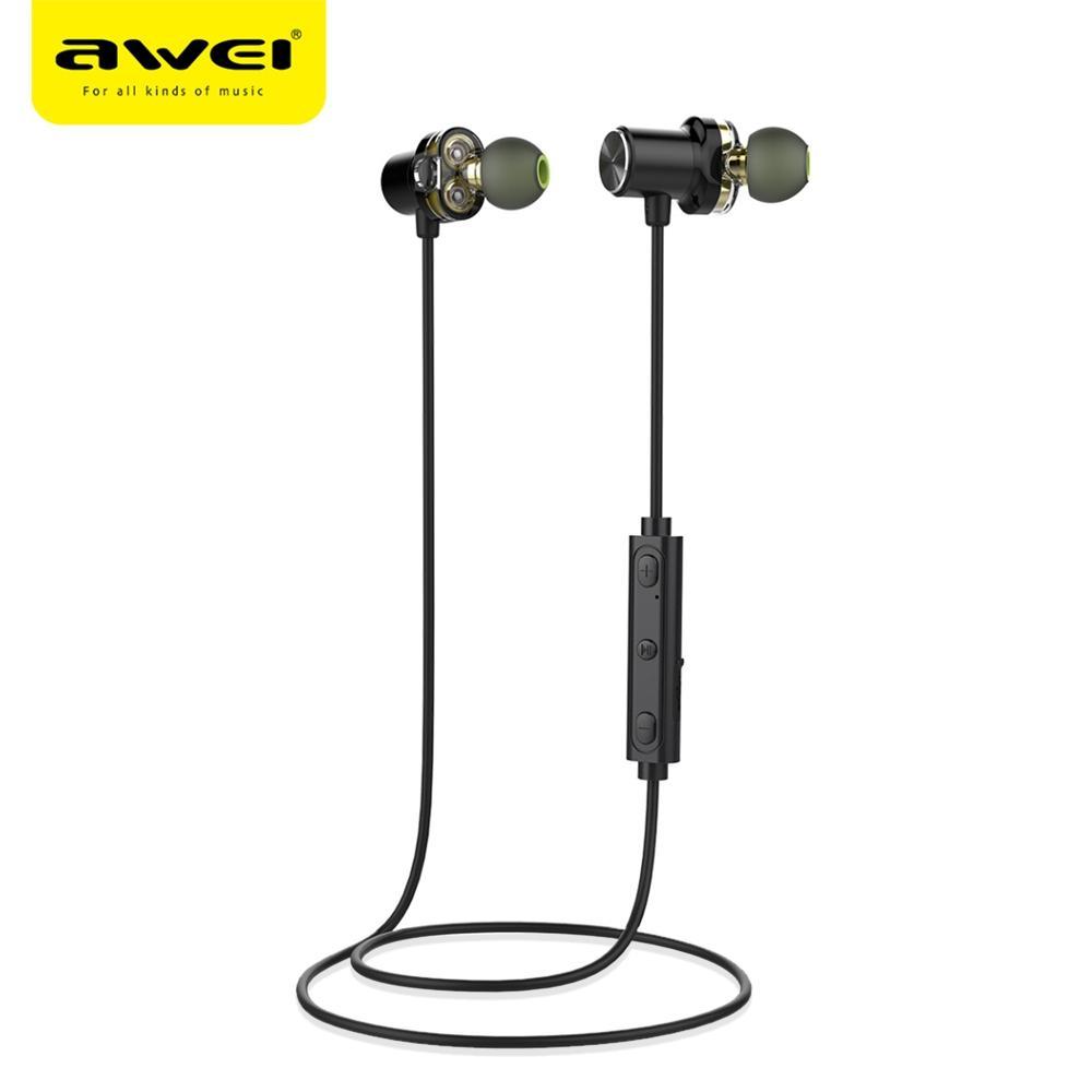 AWEI Auricular Bluetooth Auricular Auricular inalámbrico con micrófono IPX5 A prueba de agua Dual Driver Auricular para teléfono Fone De Ouvido X650BL BA