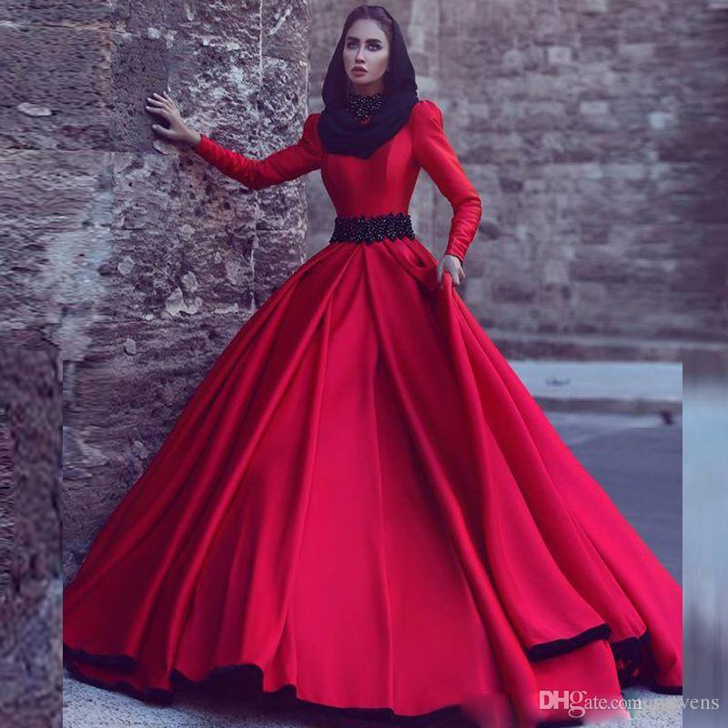Красные мусульманские свадебные платья с высоким вырезом и длинным рукавом с черными аппликациями из бисера Атласная Abric Dubai Свадебные платья Vestido De Novia