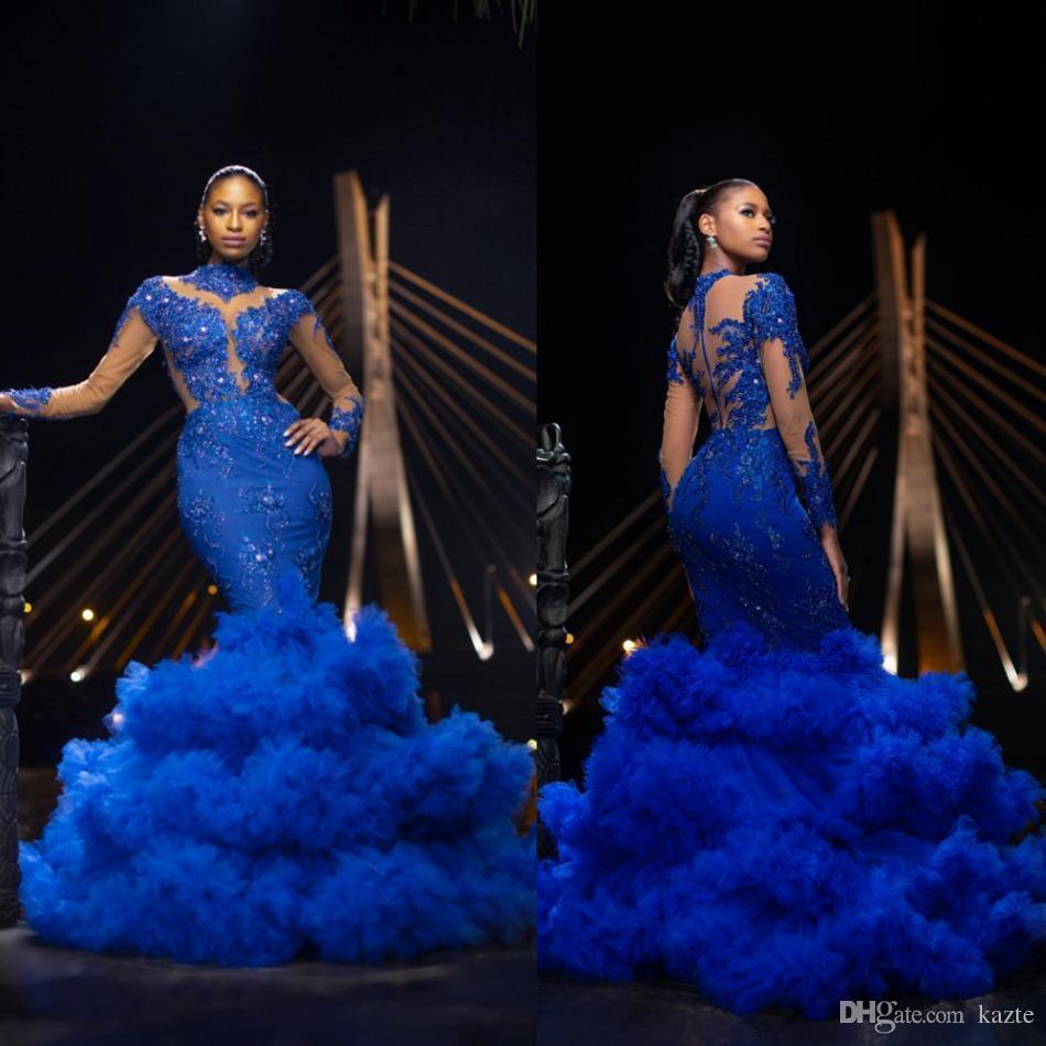 Королевские синие платья выпускного вечера русалки 2019 с высоким вырезом и длинными рукавами с блестками вечерние платья с рюшами юбка театрализованное вечернее платье дешево