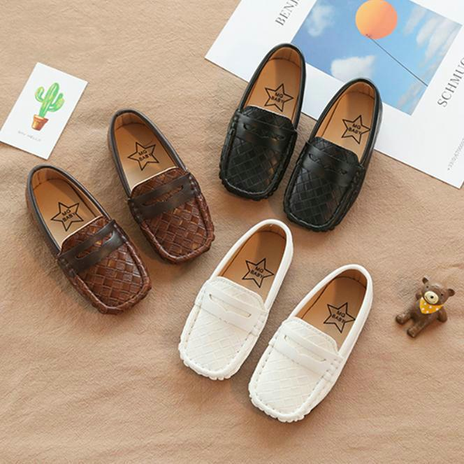 US Boy Girls Kid Peas Leather Shoes Casual Breathable Soft Children Loafer Flats