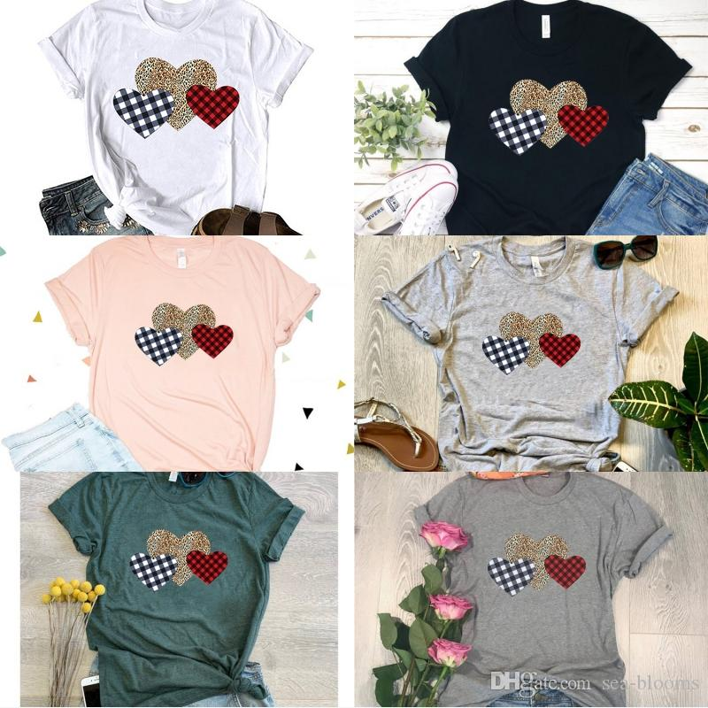 Valentines Day Comfy Womens Short Sleeve Round Neck Pattern Printing Blouses Tops T Shirt