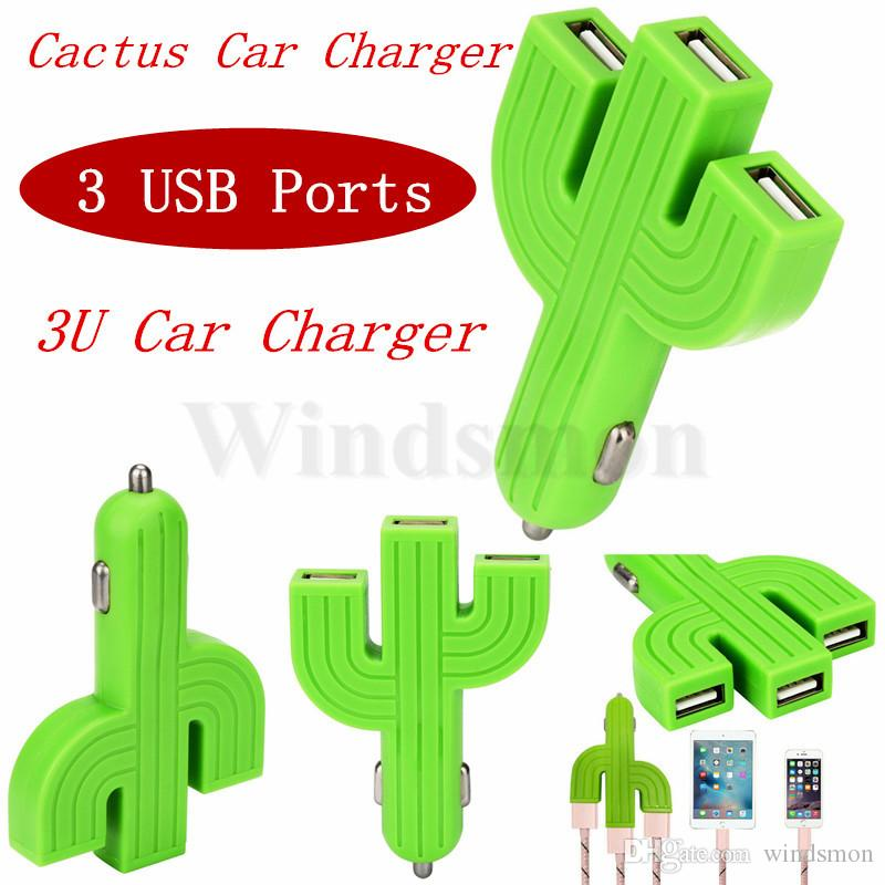 Universal Cables Adapters Sockets Car Mobile Phone Charger Cactus 3U Car Charger Multifunction 3USB Car Charger Adapters