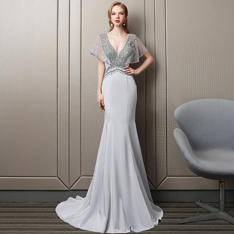 Nupcial 2020 Moda Cinzento frisada de cristal Bordado de Vivian Mermaid Vestido Sexy profunda V-neck Trem da varredura vestido longo festa
