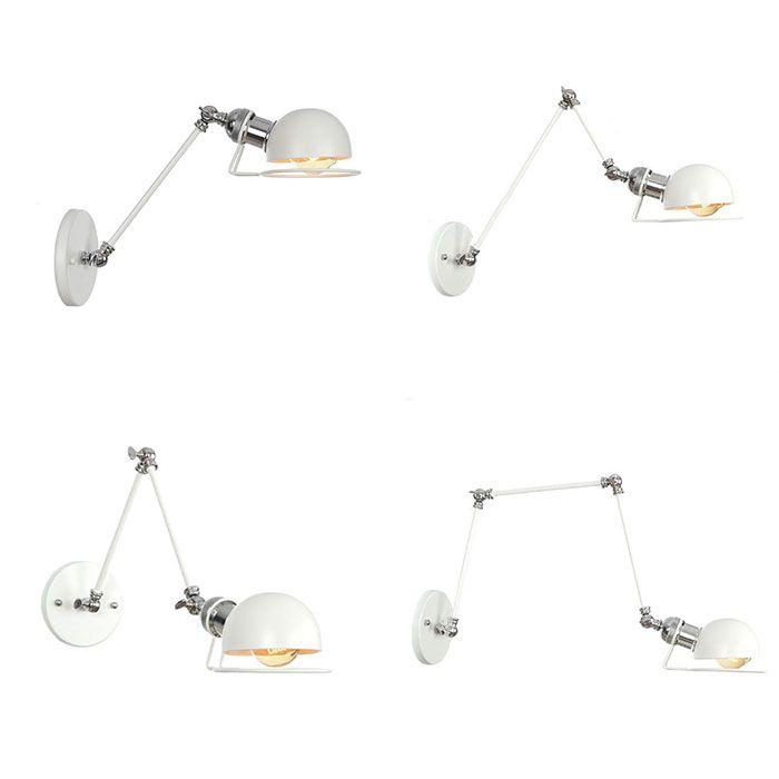 E27 Vintage parede industrial lâmpada Loft Branco Swing Arm Sconce Varanda Stair Porch Restaurante Bar Quarto Wall Light Início Luz