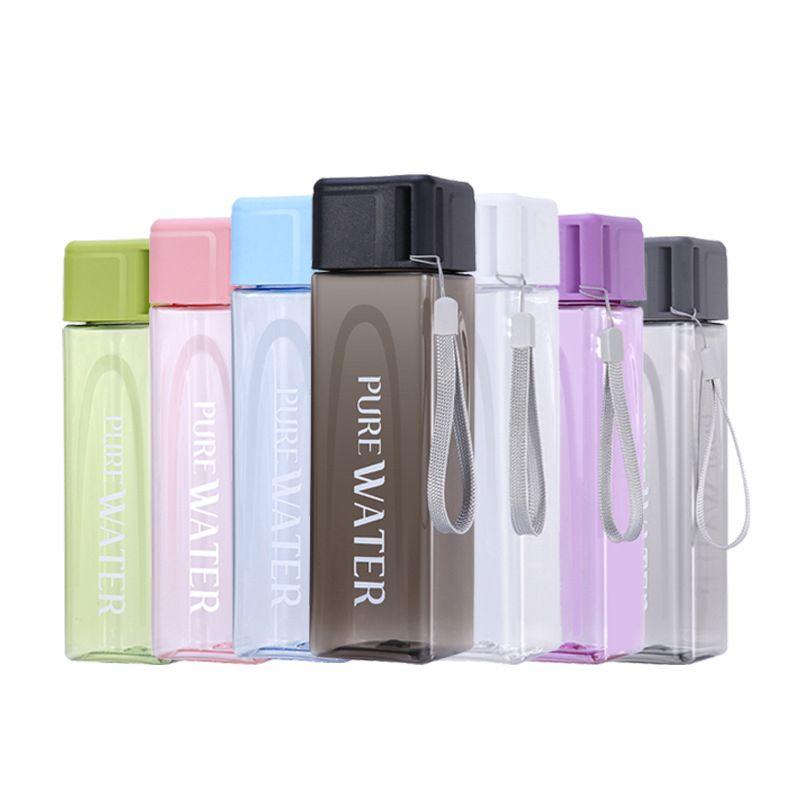 Outdoor portatile della bottiglia di acqua della tazza 17 once Sport acquatico Fashion Square trasparente Tumbler grande capacità bottiglie di plastica dell'acqua Cup aC BH1567