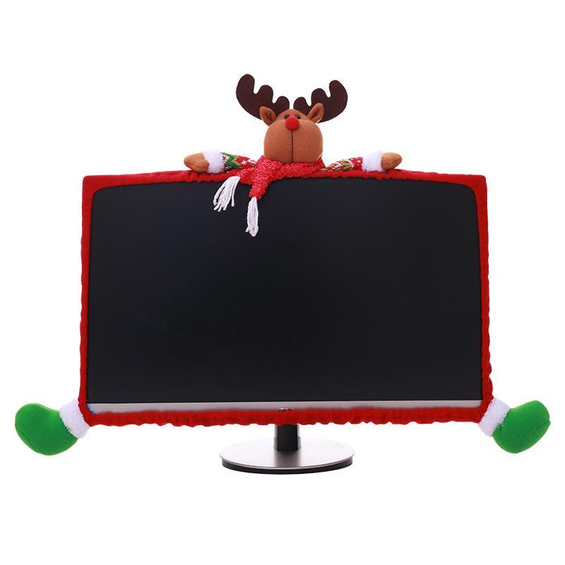 1 Piece Computer Housse Accessoires de Noël non-tissé Décor de Noël stéréo Covers Cartoon ordinateur