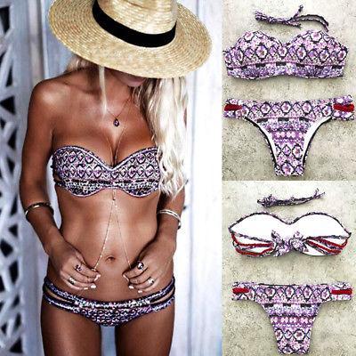 2020 Женщины Push-вверх проложенный бюстгальтер бинты бикини Set Фиолетовый Печать Купальник Bathingsuit Купальники женщин сексуальный Beachwear