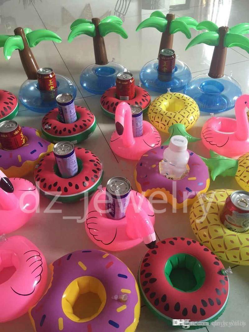 Flamingos Donut Watermelon Lemon Pineapple Inflatable Coasters Pool Donut Floating Bar Coasters Floatation Devices Drink Holder