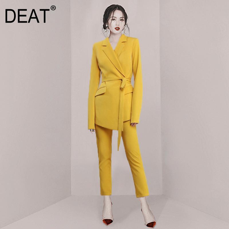 2020 nuove donne di modo della molla dei vestiti signora dell'ufficio gira-giù maniche lunghe giacca cintura alta in vita e pantaloni set WK61707L