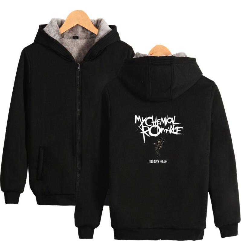 My Romance Hoodies d'hiver Toison manteau épais Imprimer Sweats à capuche Fermeture éclair unisexe Veste Big Taille 4XL