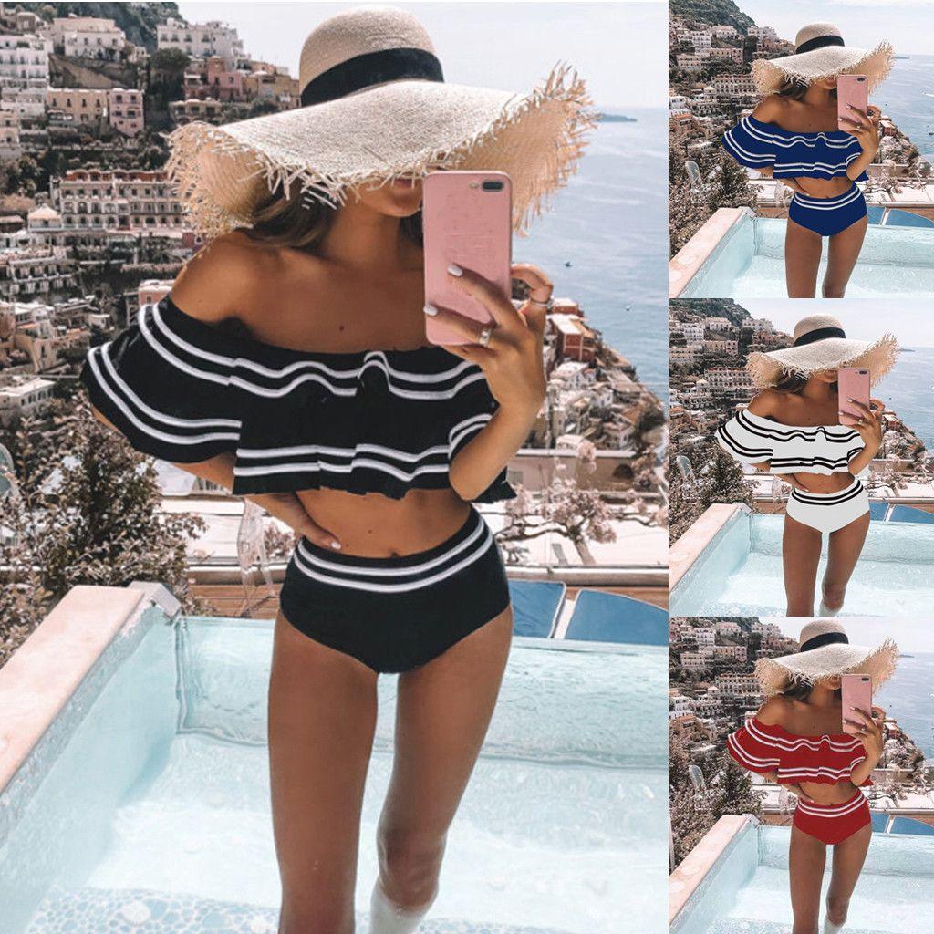 Taille haute Ensemble bikini pour les femmes Maillot de Bain 2020 Maillots de bain été épaules Swimuit Femme Retro Beachewear Bikini