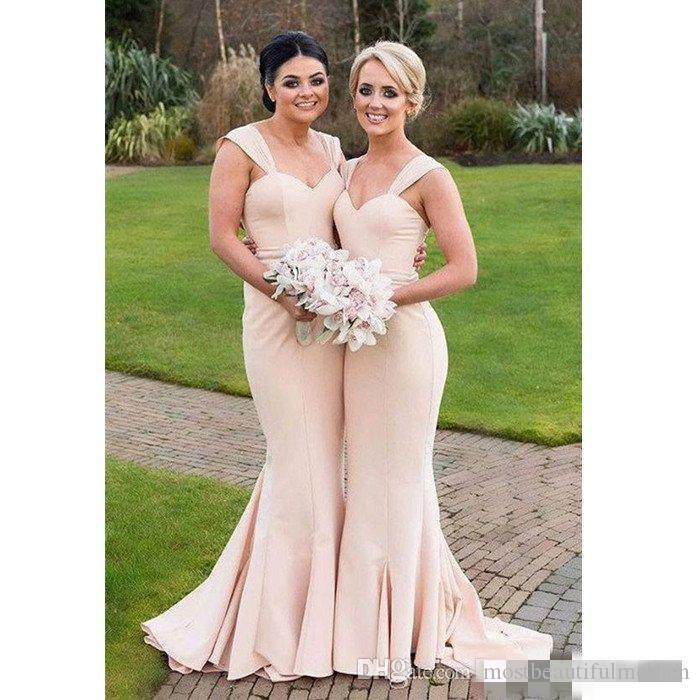 2017 Barato Sereia Champagne Vestidos dama de honra decote Tribunal Trem longo Maid of Honor Vestidos Prom Dress partido