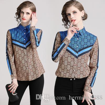 Primavera Outono Mulheres Estampa Floral Blusa Turn Down Collar Pescoço Camisa Escritório Longo SleeveTops Blusas Femininas