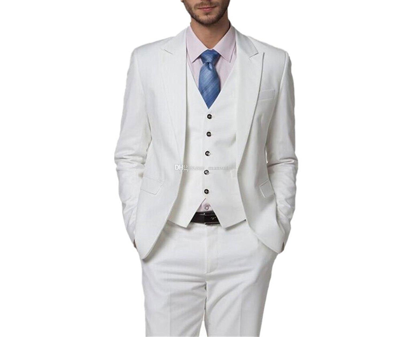 Yeni Varış Groomsmen Tepe Yaka Damat Smokin Beyaz Erkekler Düğün / Balo / Akşam Yemeği En Adam Blazer Suits (Ceket + Pantolon + Yelek + Kravat) M1041