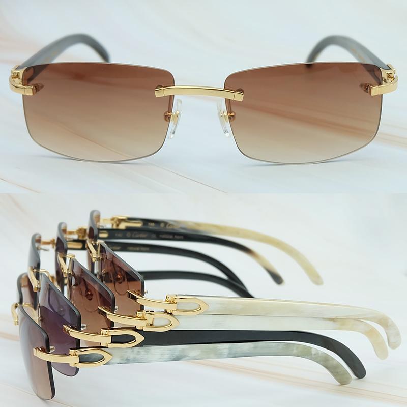 Natur Horn-Sonnenbrille-Männer 2018 Trend Fashion Rectangle Frauen Sun-Glas-Strand Driving Shade Sunglass