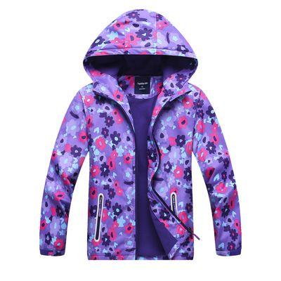 Giacca a vento da bambina impermeabile e traspirante per esterno con stampa sul petto con cappuccio e giacca in velluto