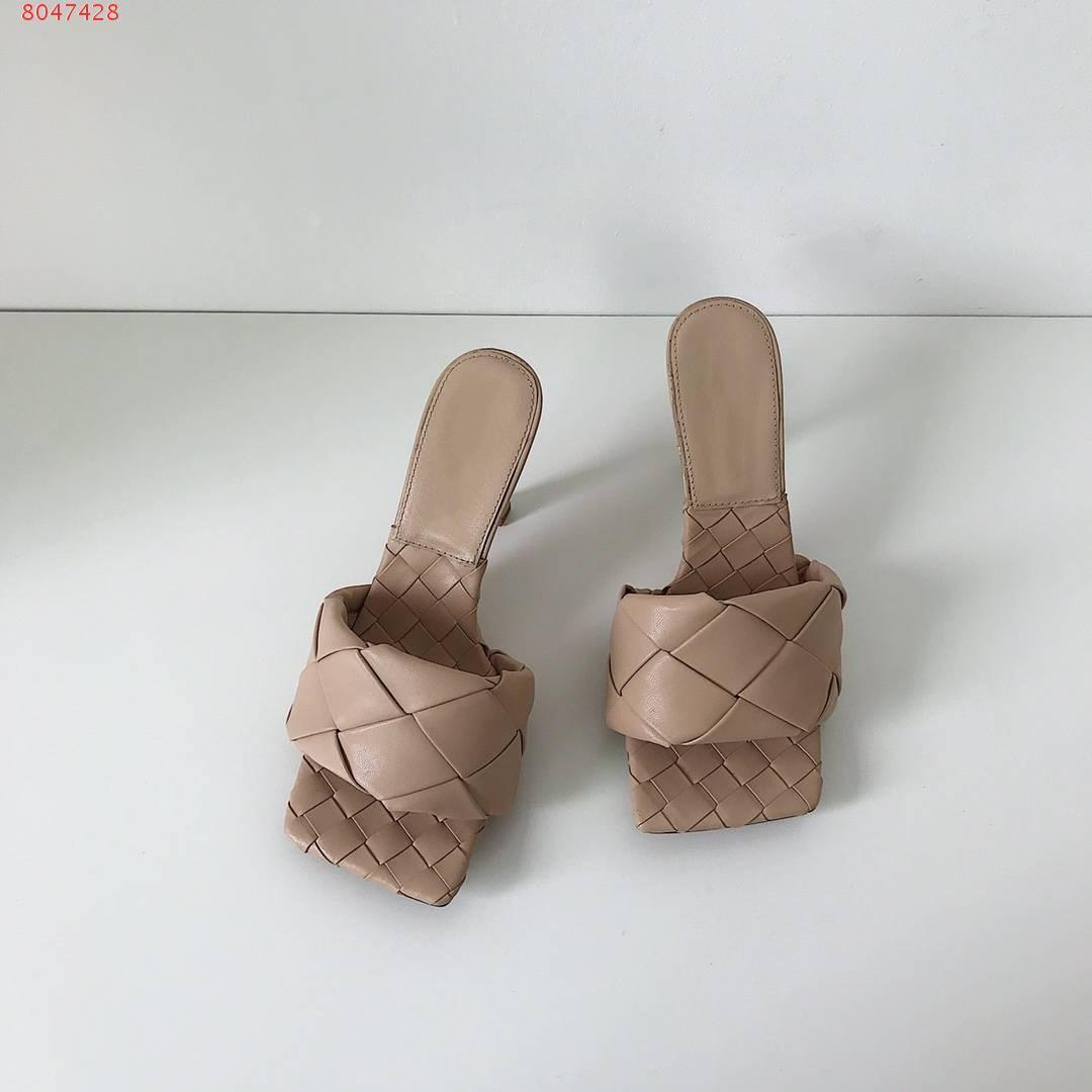 2020 Latest Real leather slippers women shoes Square sole mules , open-toed Woven high heel slipper soft nappa Lido Sandals ,9cm heel