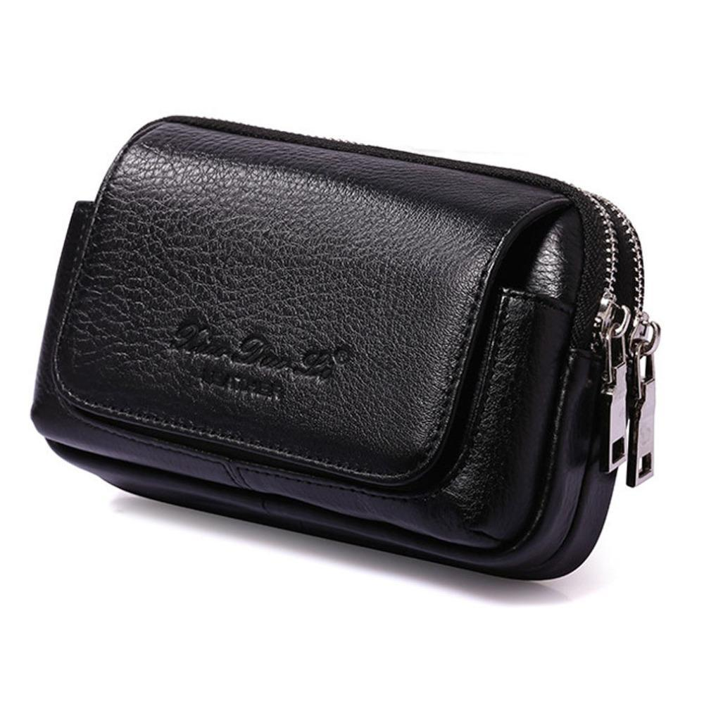 Men Cowhide Genuine Leather Military Cell /Mobile Phone Cover Case Skin Hip Belt Bum Purse Fanny Pack Waist Bag Pouch