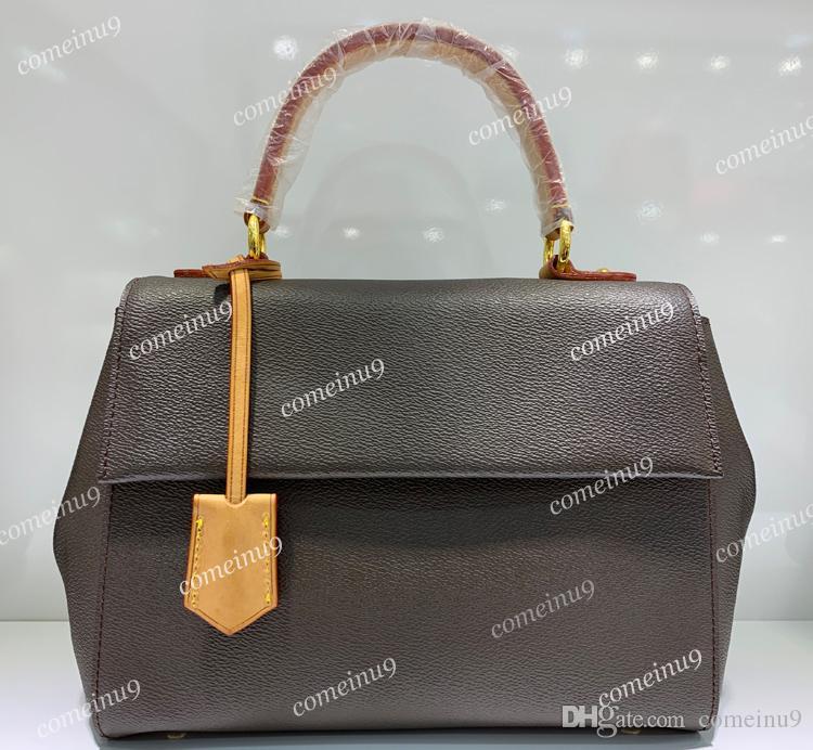 Bolso Cluny de cuero genuino al por mayor de moda 42735 Bolso de hombro grande para mujer con asa de correa Bolsos cruzados de color rosa azul
