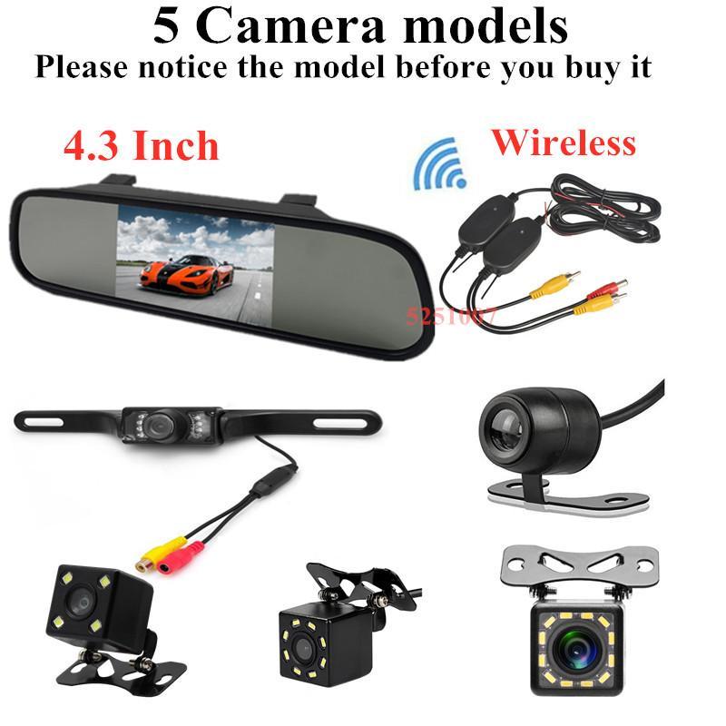 4.3inch auto TFT LCD a specchio Monitor Monitor di parcheggio di rearview di sostegno di retrovisione Camera + 2.4G Ricevitore Trasmettitore Wireless
