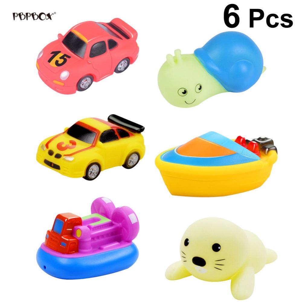 6 pcs squirting banho brinquedos dos desenhos animados barcos de plástico carros de animais squeeze spray de água brinquedo piscina praia banheira brinquedo