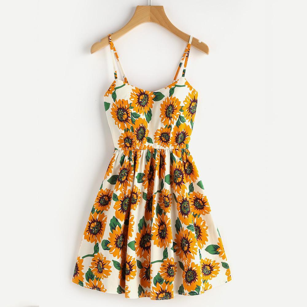 di HomeNest estate delle donne Abito senza maniche signore Girasole Stampa Tutto mini vestito elegante Vestidos Beach Abiti Helianthus