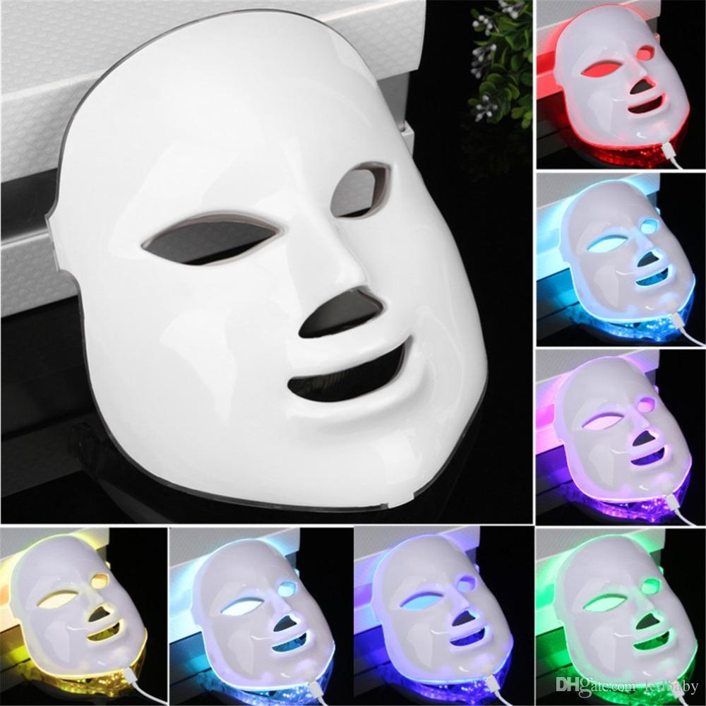 7 couleurs LED Facial Masque Soins De La Peau Photon Rajeunissement De La Peau Thérapie PDT Acné Rides Enlèvement Anti-vieillissement