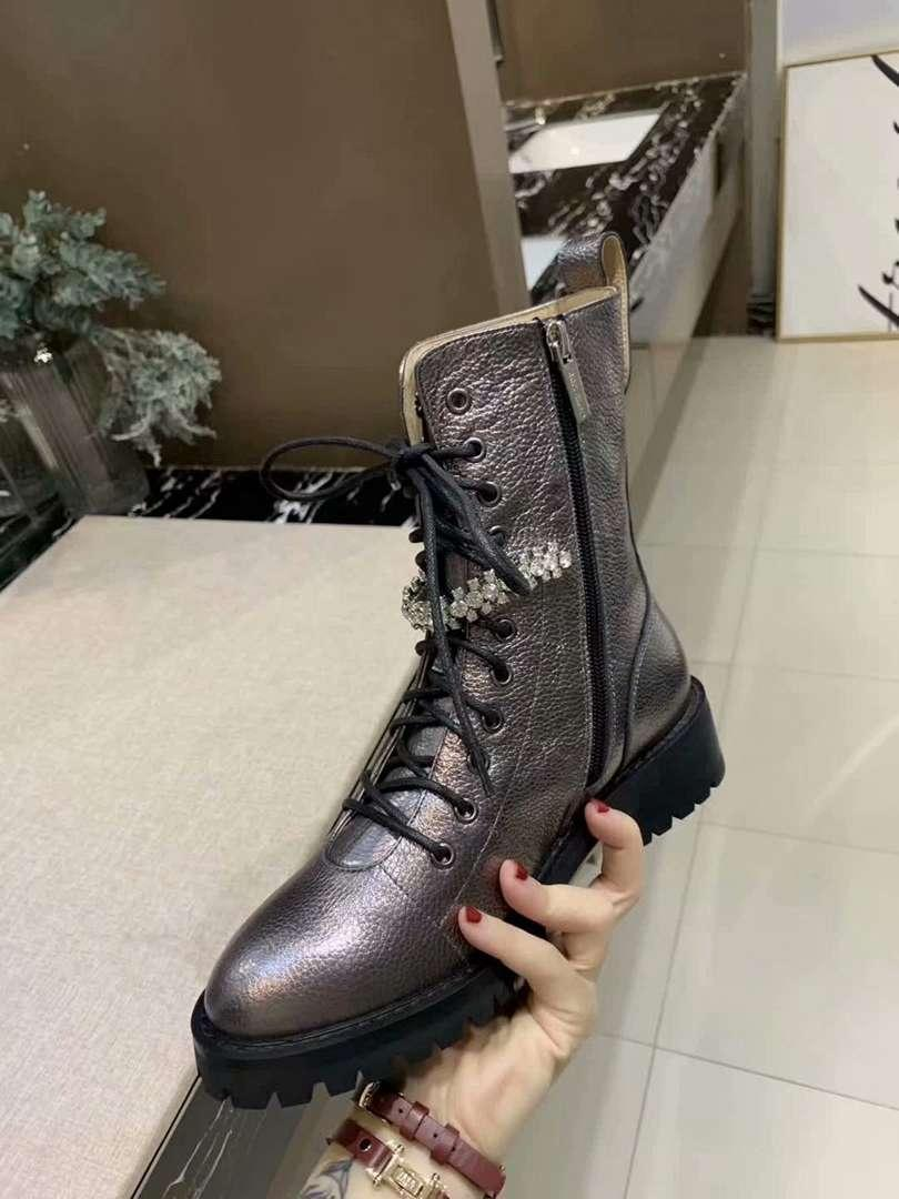 Casual ladies ankle boots crystal chain lace boots international brand fashion designer leather Roman low heel women's boots