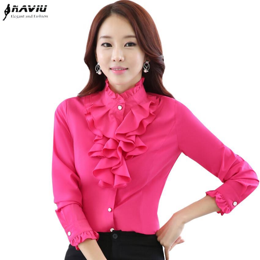Yüksek Kalite Uzun Kollu Şifon Bluz Zarif Kadın Ruffles Gömlek Ince Ofis Blusa Feminina Iş Elbisesi Artı Boyutu J190615 Tops