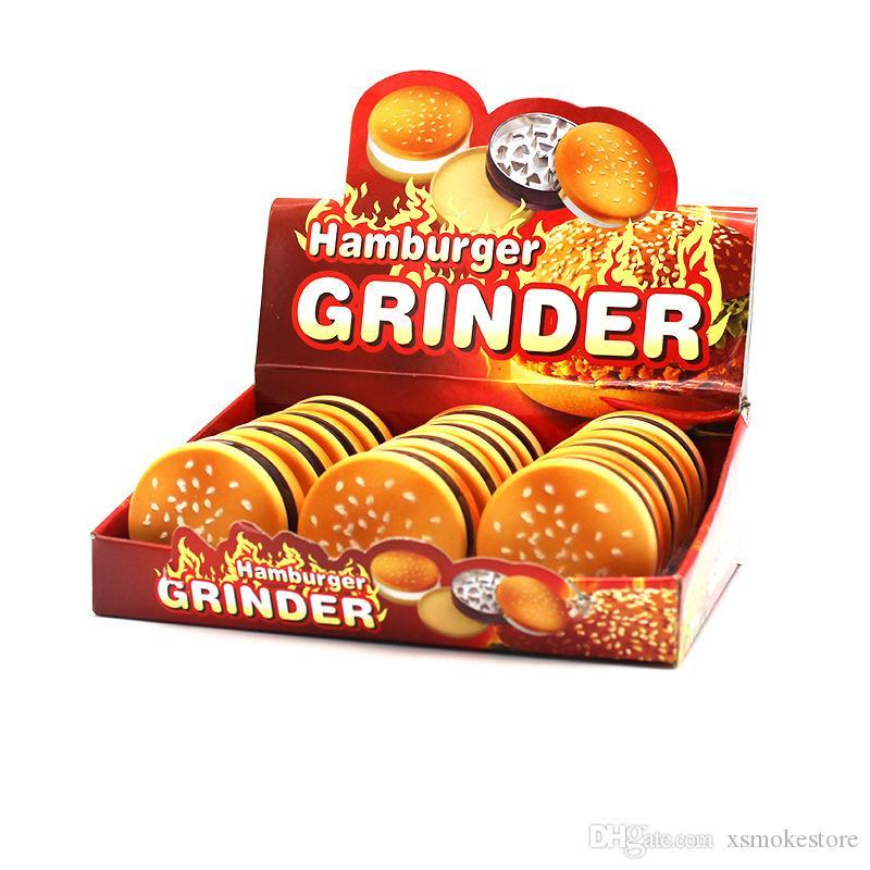 Оптовая цена 55мм 3 частей Hamburger металла Grinder цинковый сплав Материал Табак Grinder Дым сигарет сухой травы Grinder