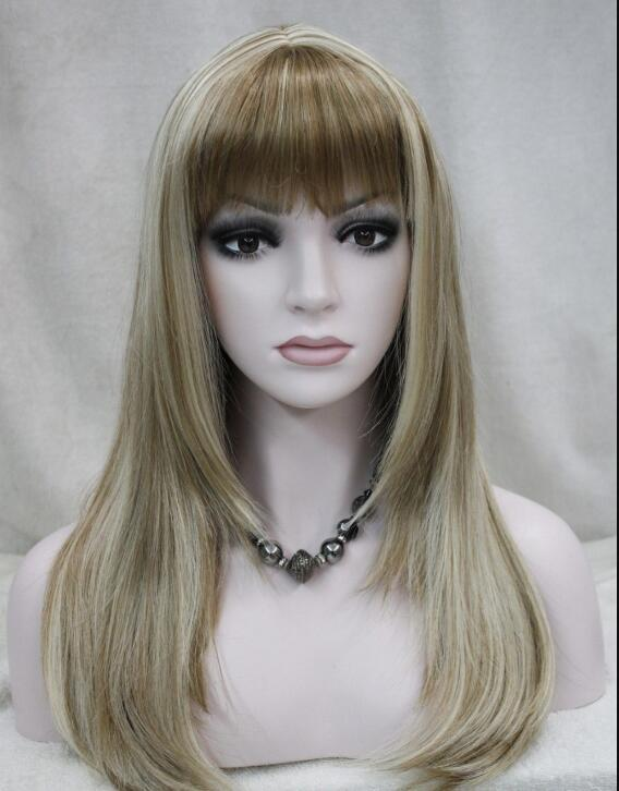 WIG Excellent Light Brown Blonde Mixed Long Straight Women Ladies wig Bangs