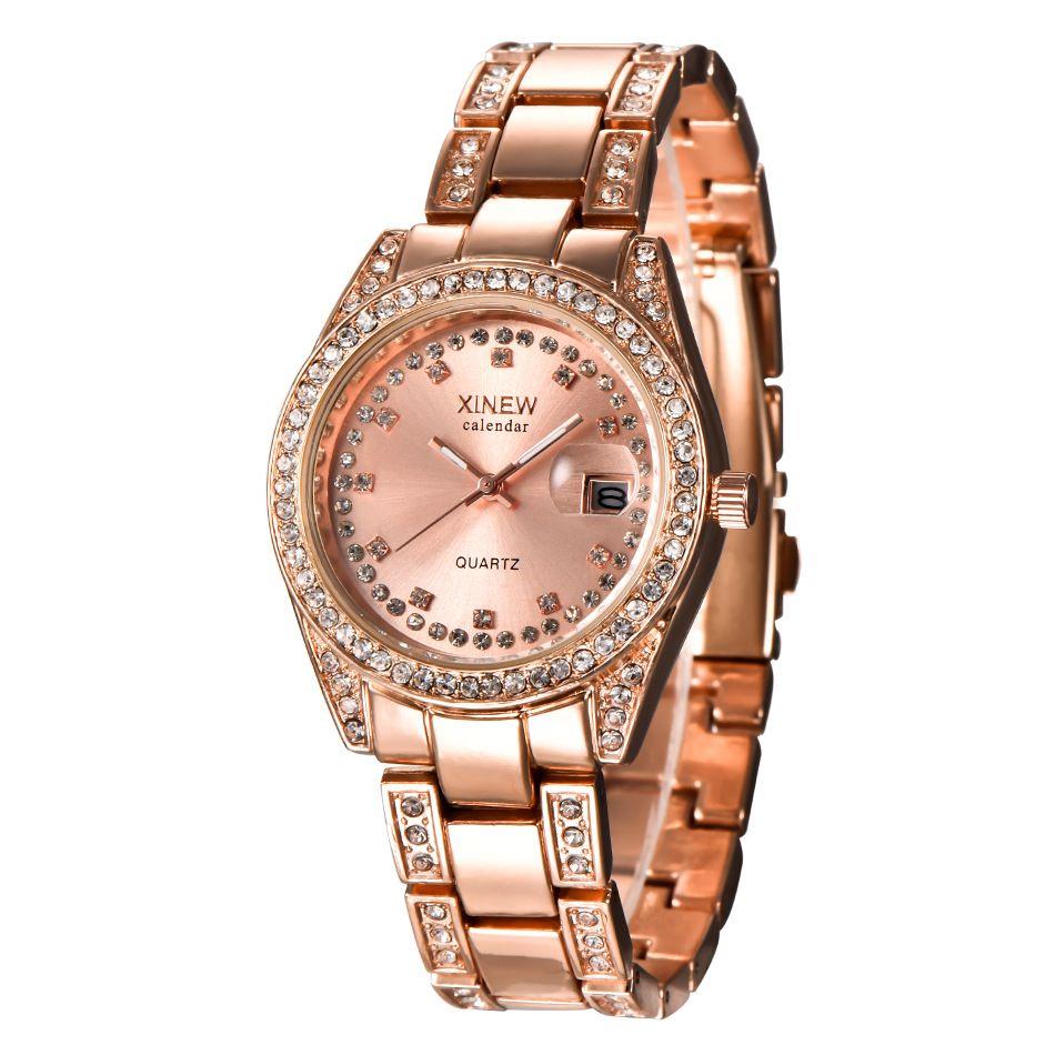 relógio de moda relógio de quartzo de aço inoxidável da marca das mulheres Xinew. Rápido venda relógio calendário popular