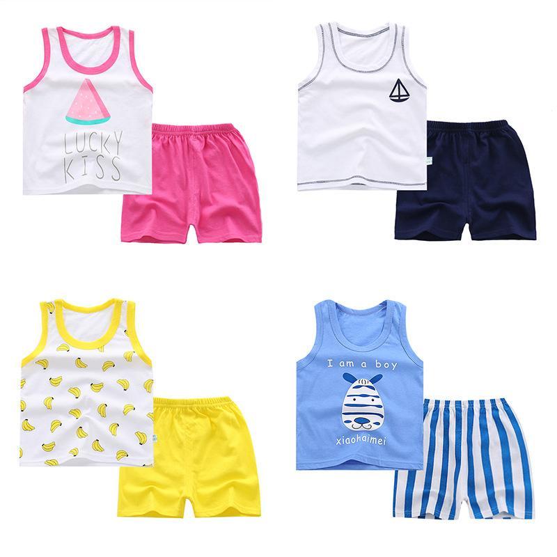 Bebek Erkek Kız Yelek Setleri Bebek Pamuk Takım Elbise Karikatür Çocuklar yelek + şort Yaz Kıyafetler Set LJJW186 Suits