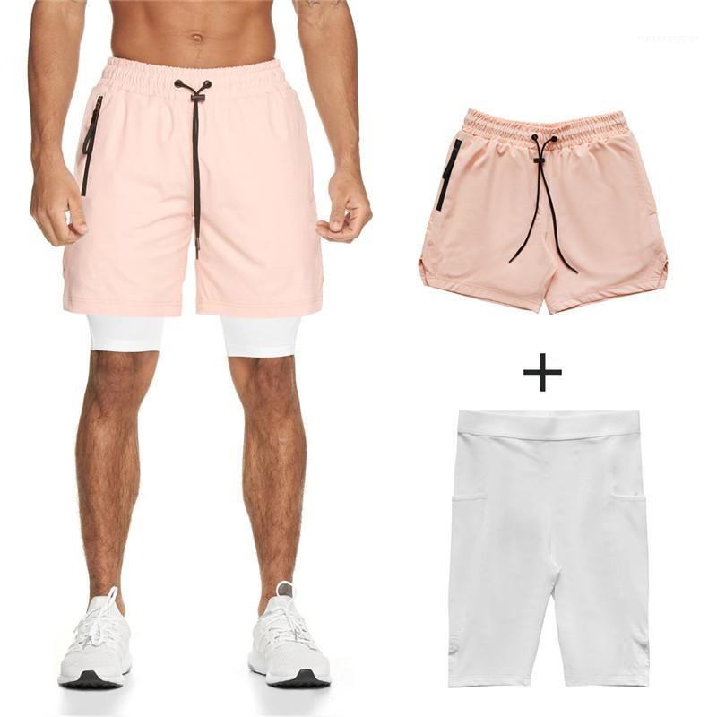 Shorts Hommes Quick Dry Sport Pantalon de jogging Ceinture de poche Designer Casual Fitness Summer Mens Shorts 2PCS Solide Couleur