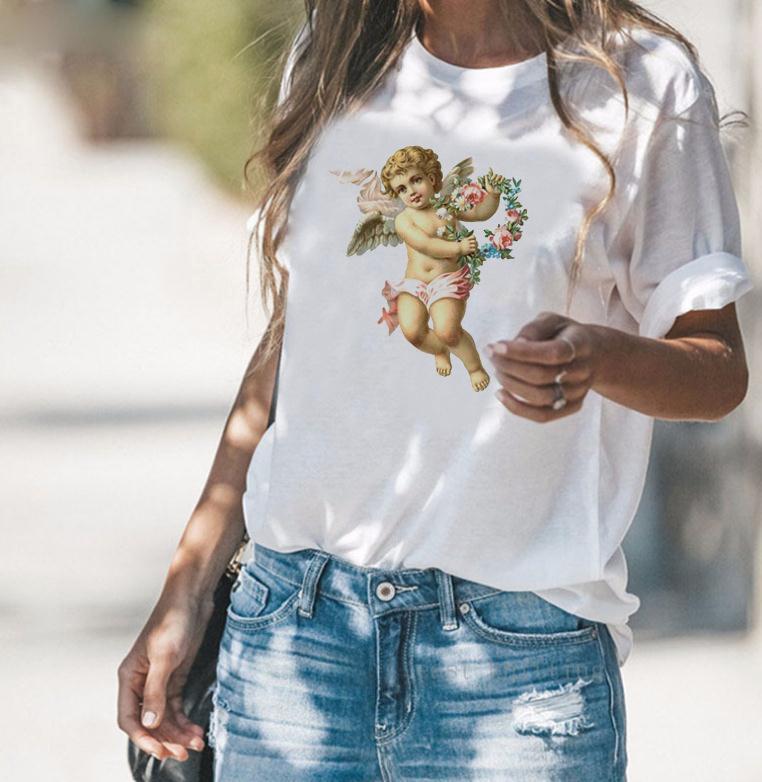 Новый маленький ангел шею сплошной цветной печати футболка с короткими рукавами одежда женская повседневная летняя рубашка с короткими рукавами оптом