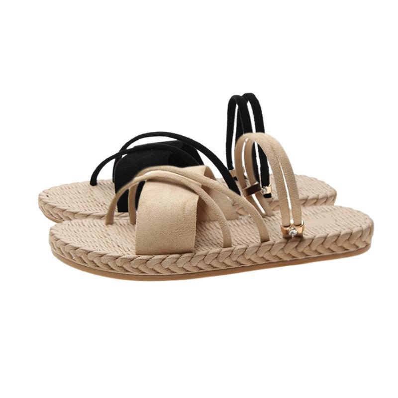 Moda in pelle Pantofole Donne 2020 nuove signore testa rotonda Flock Scarpe spiaggia Donna Casual Khaki esterna Weave infradito Femminile