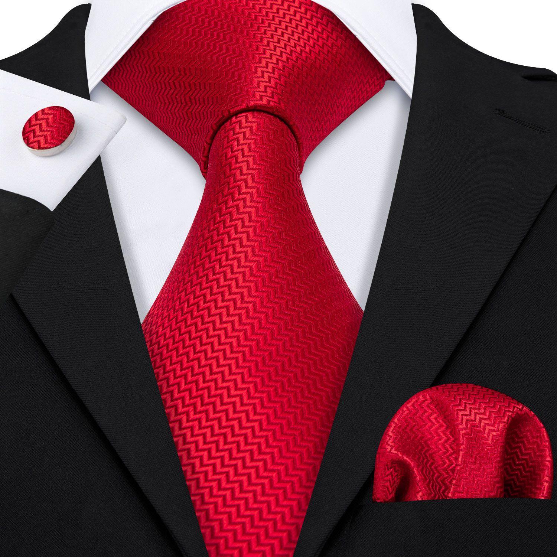 الأسهم في المملكة المتحدة التعادل مجموعة حمراء الصلبة عادي تويد الرجال الحرير بالجملة الجاكار المنسوجة ربطة العنق جيب مربع أزرار أكمام الزفاف الأعمال N-5198