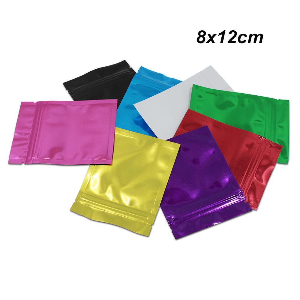 6 cores 8x12cm Pacote da folha de alumínio Saco do petisco Varejos Mylar Foil presentes Bolsa Reclosable Food saco de armazenamento Grocery Nuts sacos de embalagem