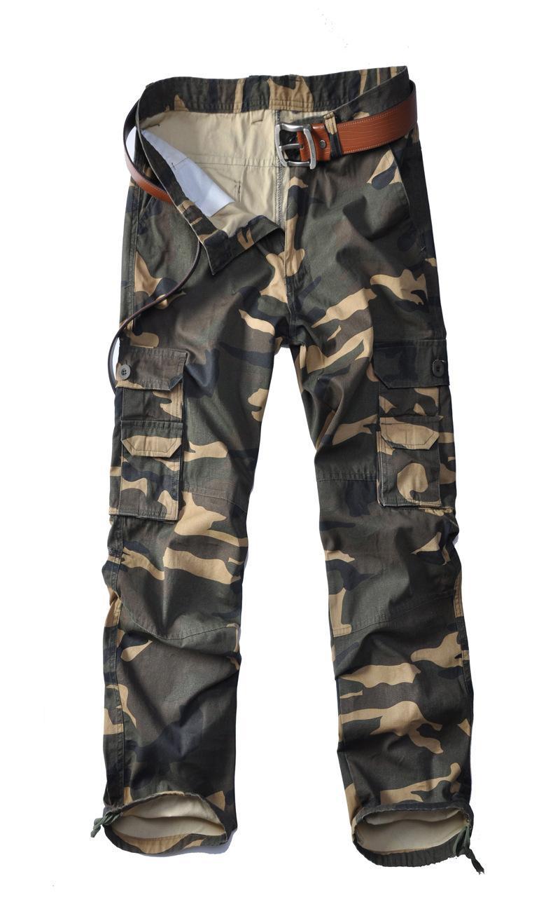 2020 Mens camuflaje Primavera Pantalones con cremallera verde del ejército Hombre Pantalones Relajado bolsillos grandes suelta Homme pantalones largos